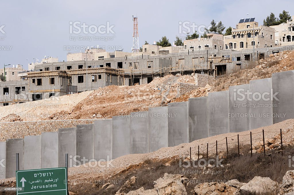 Israeli Settlement Construction and Separation Wall stock photo