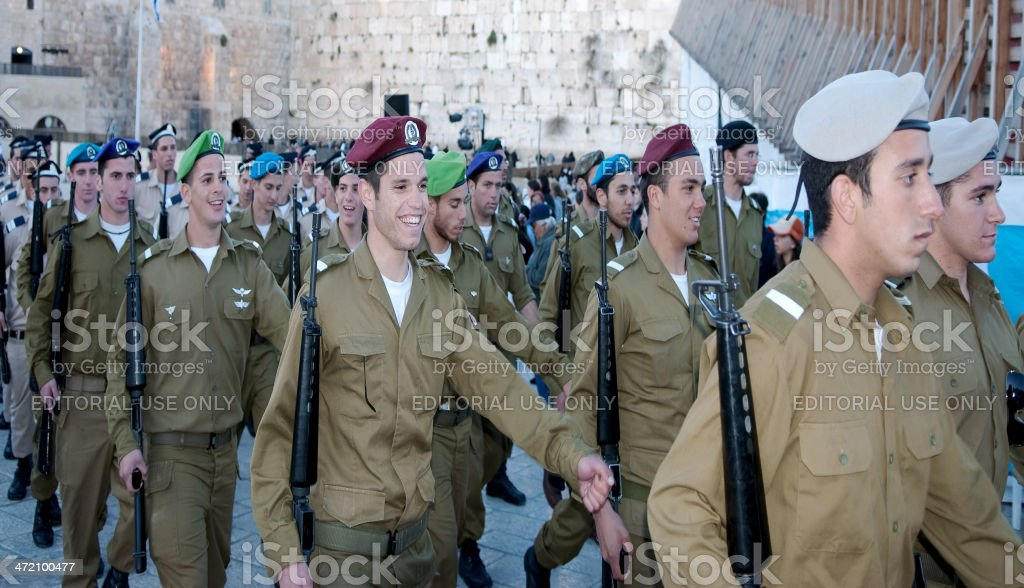 Israeli Soldiers at the Western Wall stock photo