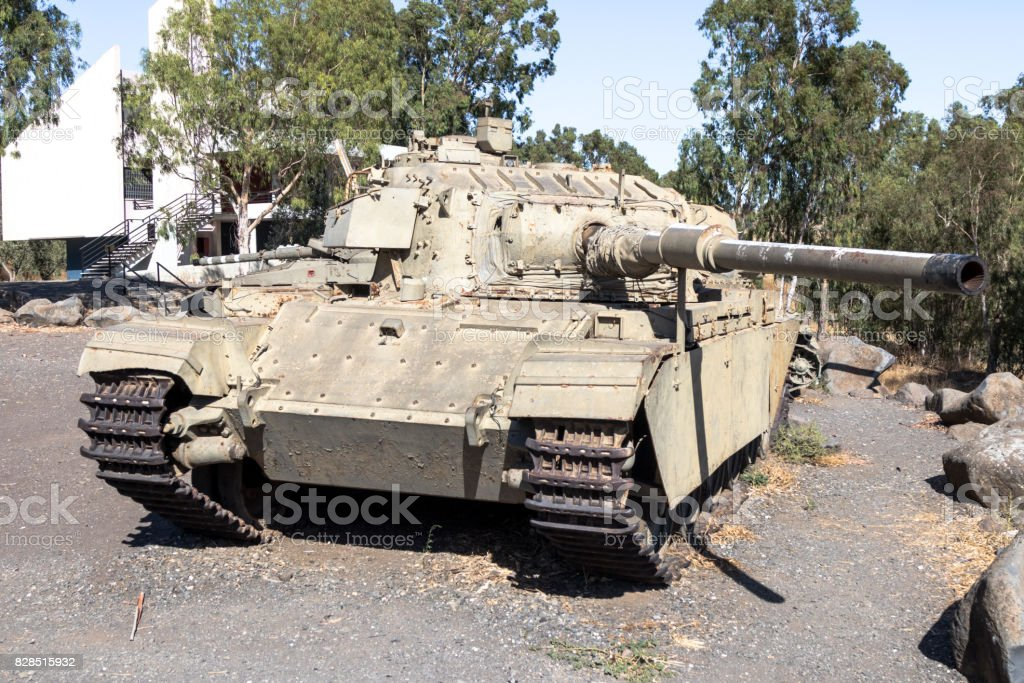 Israeli tank is after the Doomsday (Yom Kippur War) on the Golan Heights in Israel, near the border with Syria stock photo