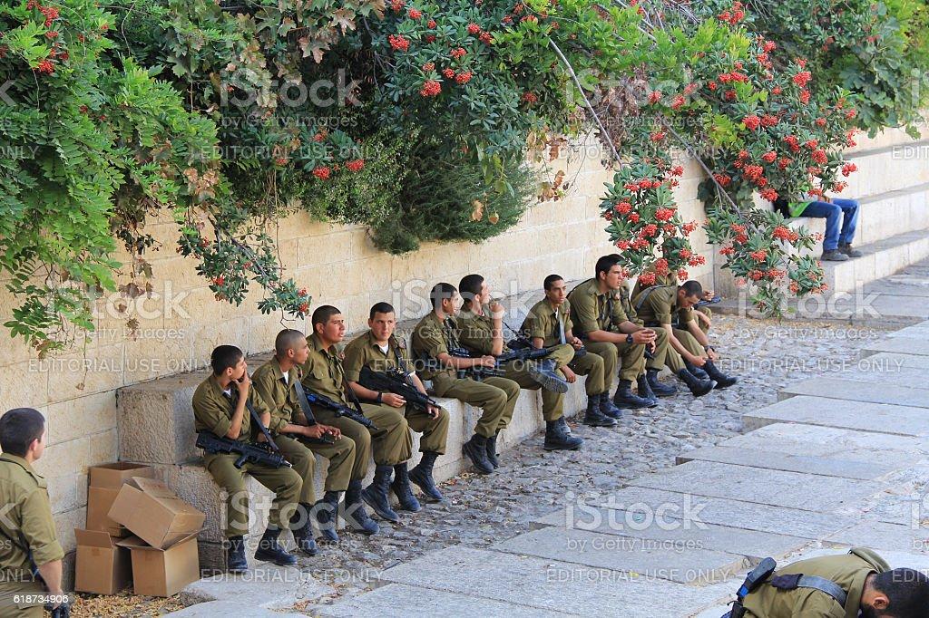 Israeli Troops inside of Old Jerusalem stock photo