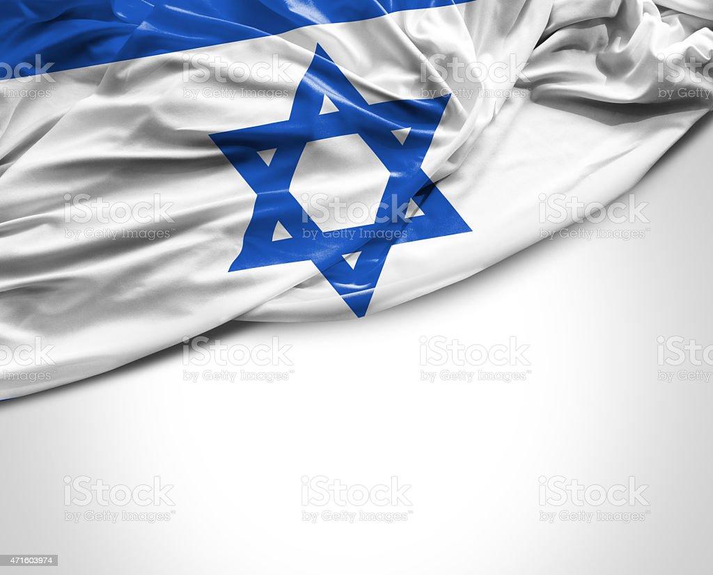 Israeli waving flag on white background stock photo