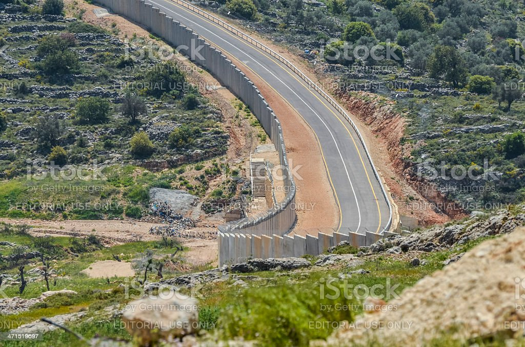 Israeli West Bank barrier stock photo