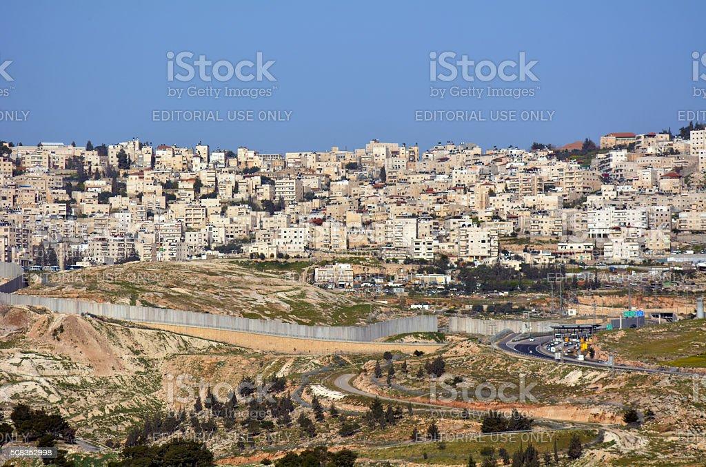 Israeli West Bank barrier stock photo