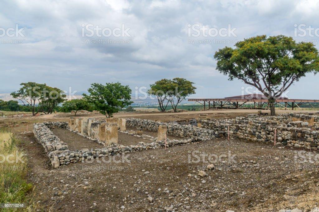 Israelite buildings remains, in Tel Hazor National Park stock photo