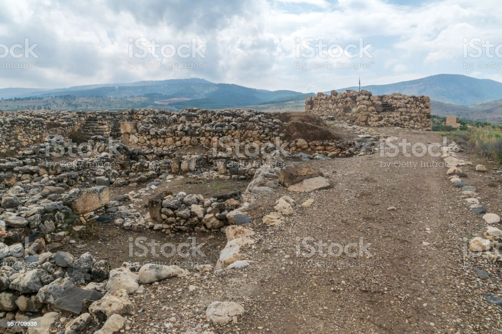 Israelite fortress remains, in Tel Hazor National Park stock photo