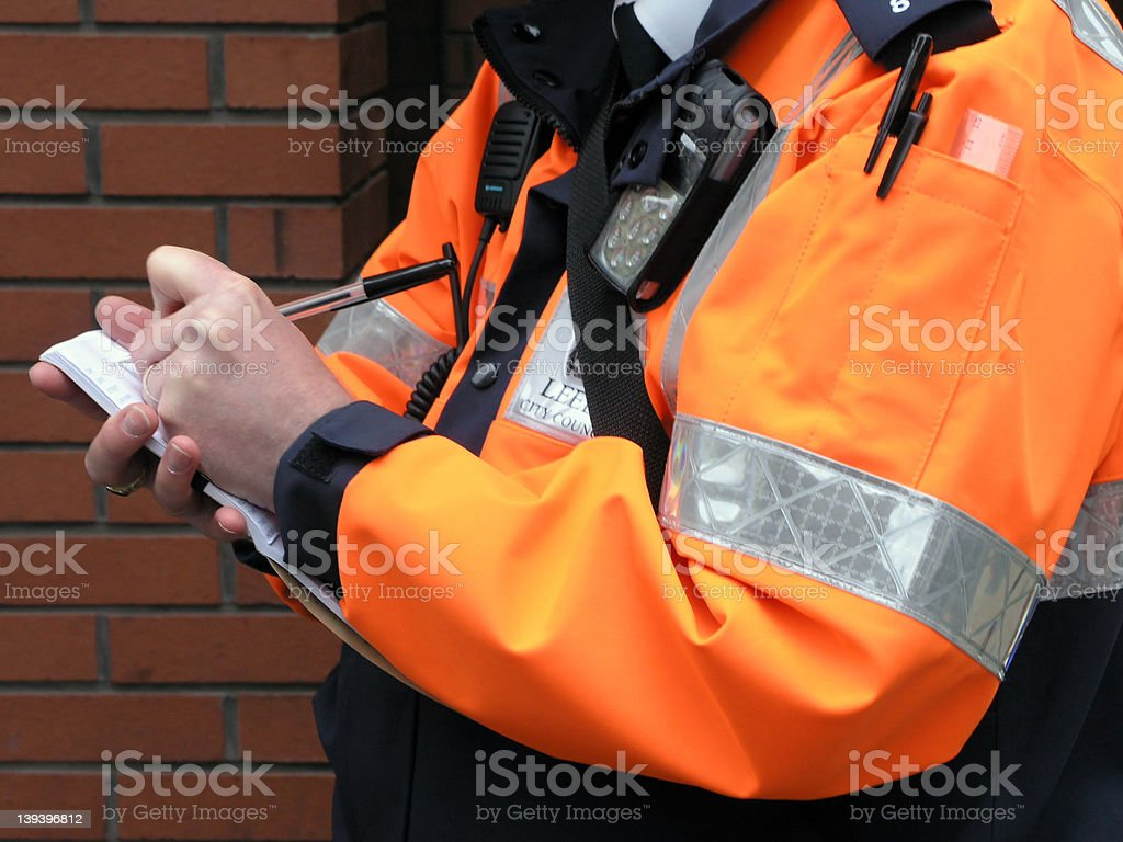 Issuing a parking ticket stock photo