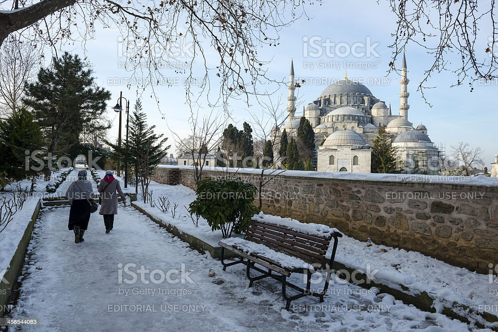 Istanbul and the Süleymaniye Mosque in winter snow royalty-free stock photo