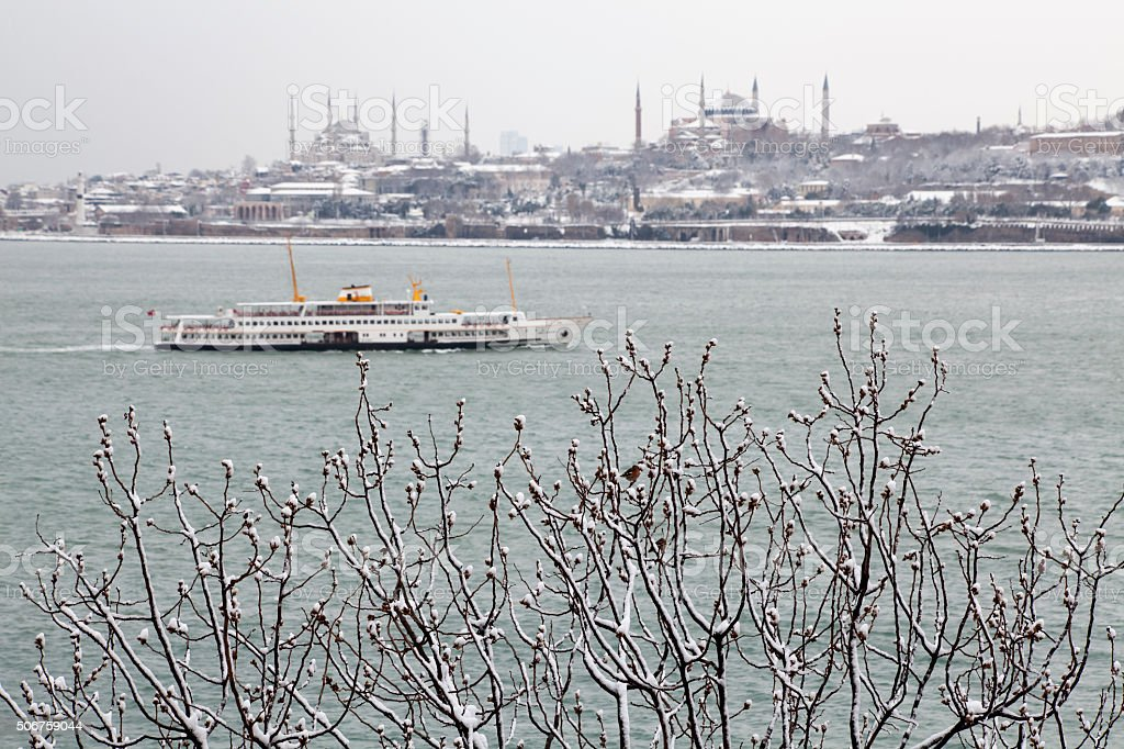 Istanbul at snowy winter,Turkey stock photo