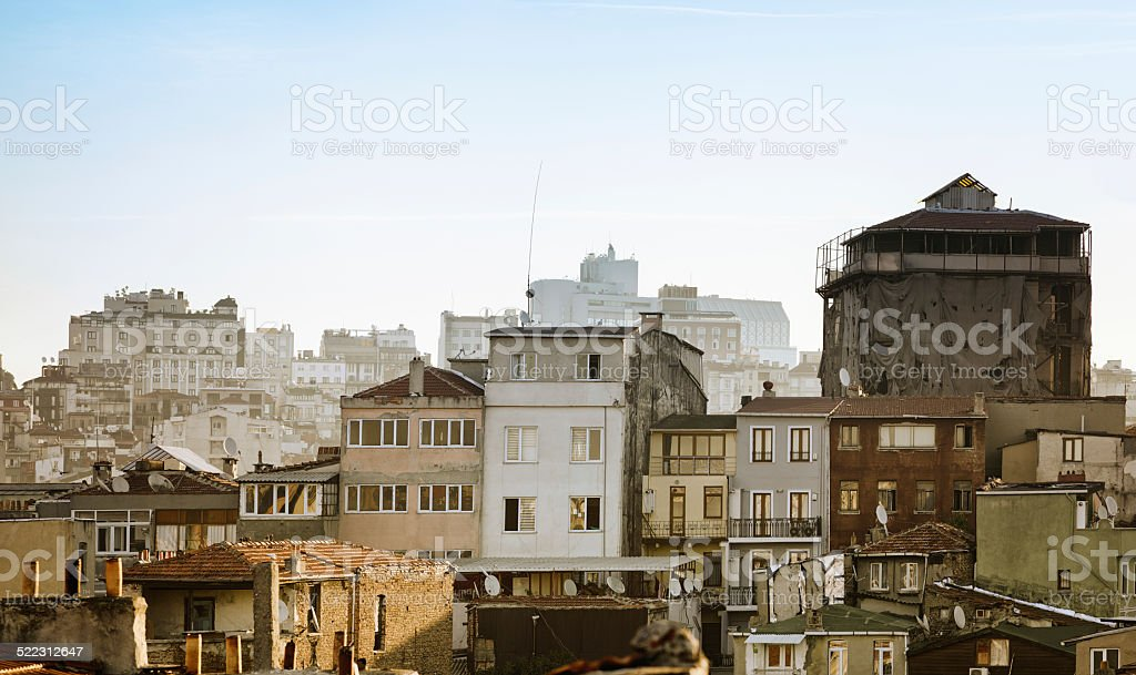 Istanbul Beyoglu rooftops urban density panorama royalty-free stock photo