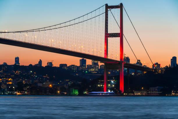Istanbul Bosphorus bridge at dusk Istanbul Bosphorus bridge at dusk bosphorus stock pictures, royalty-free photos & images