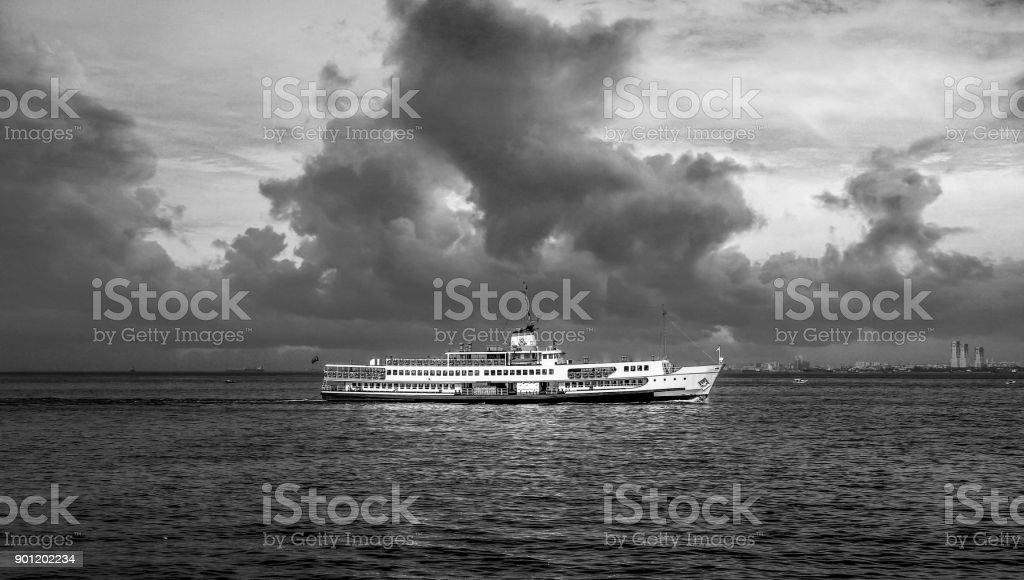Istanbul city ferry and beautiful coastal views stock photo