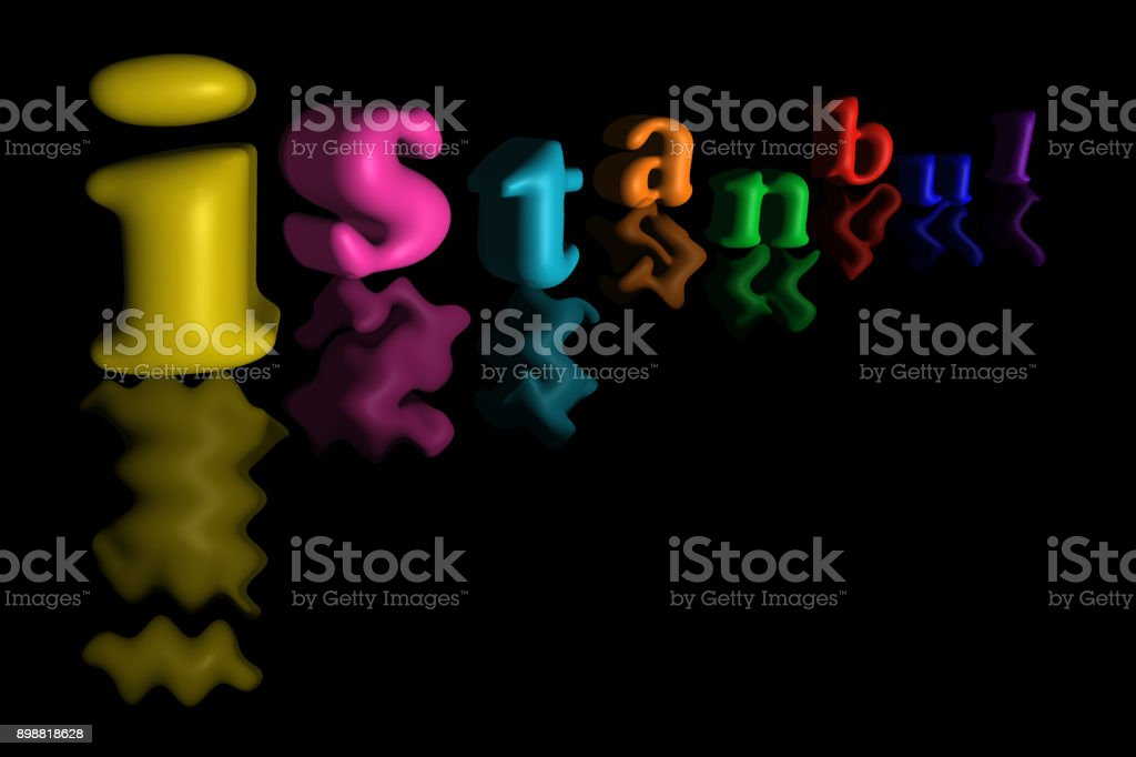 Istanbul city lettering on black background. stock photo