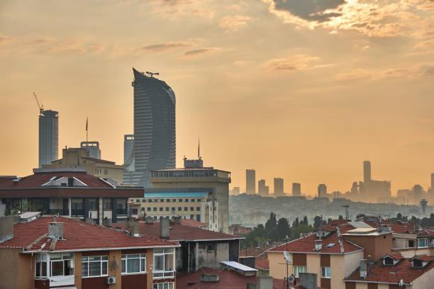 Istanbul city sunrise, view towards Acibadem neighbourhood, Asian part of the city stock photo