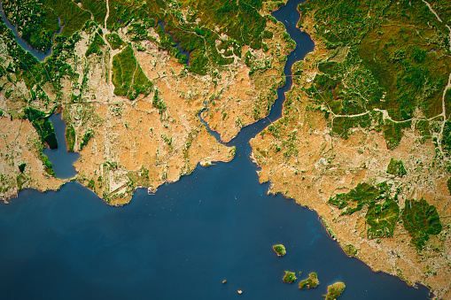 Istanbul City Topographic Map Natural Color