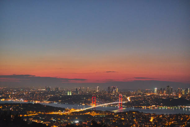 Istanbul city, view from the Camlica Hill - Çamlıca Hill stock photo