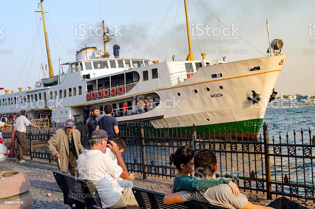 Istanbul, ferry in Karakoy pier. Port looks everyday life. royalty-free stock photo