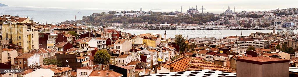 Istanbul Galata Karakoy Sultanhamet Bosphorus panoramic skyline royalty-free stock photo