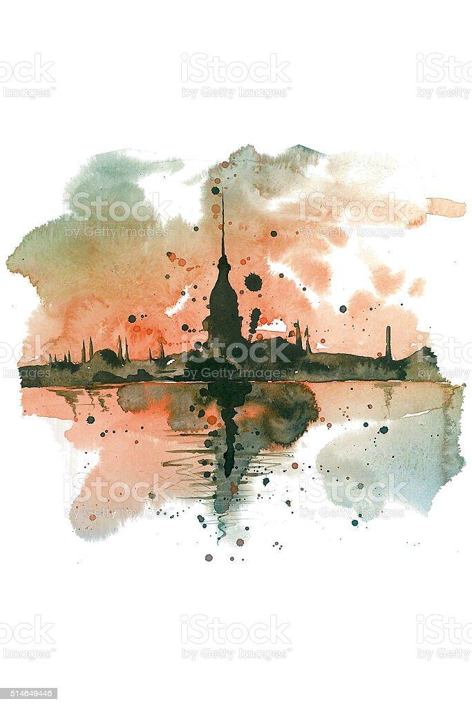 Istanbul / Illustration / Watercolor stock photo