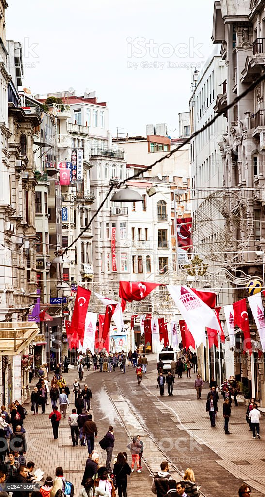 Istanbul Iskatal street vertical decorated for Republic Day royalty-free stock photo