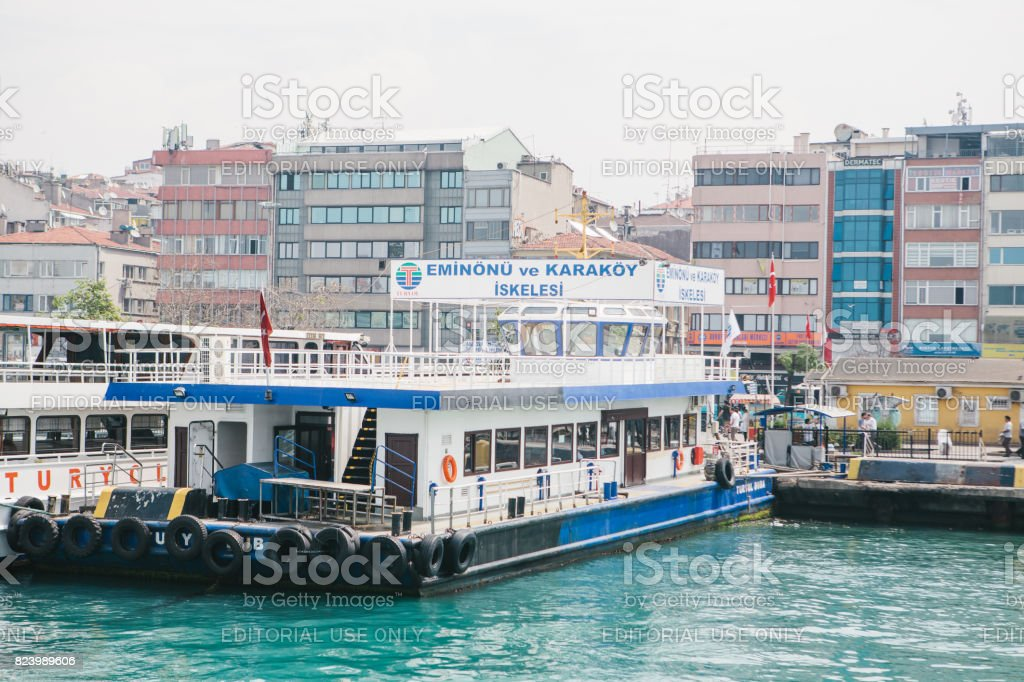 Istanbul, June 15, 2017: Passenger ferry in the port in Stabul, Turkey. Transportation of passengers by sea. stock photo