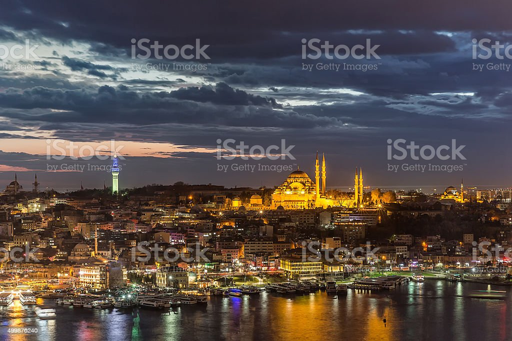 Istanbul Landscape from the Galata Tower . stock photo