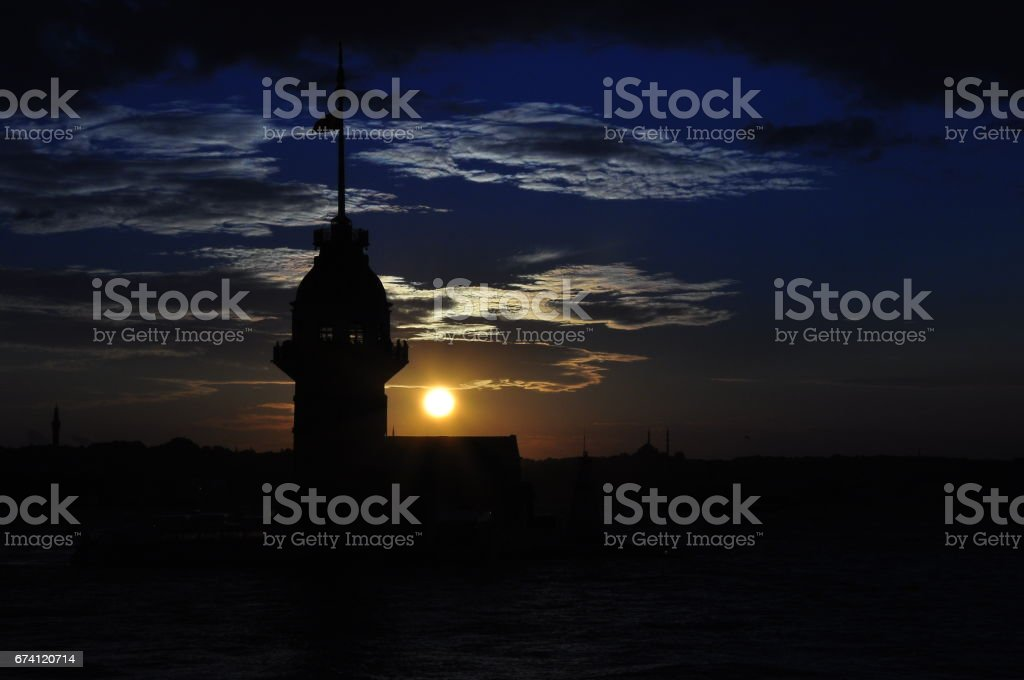 Istanbul Maiden Tower from the east in sunset. In the distance are such landmarks as Blue Mosque, Hagia Sophia and Topkapi Palace royalty-free stock photo