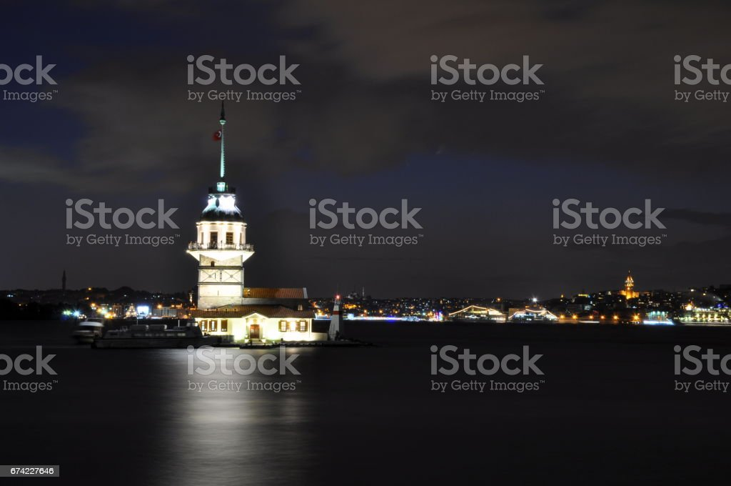 Istanbul Maiden Tower from the east in sunset. In the distance are such landmarks as Blue Mosque, Hagia Sophia and Topkapi Palace stock photo