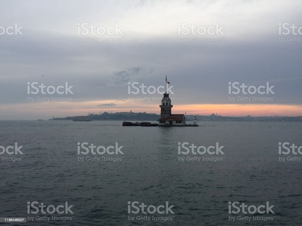 istanbul maiden tower in sunset stock photo