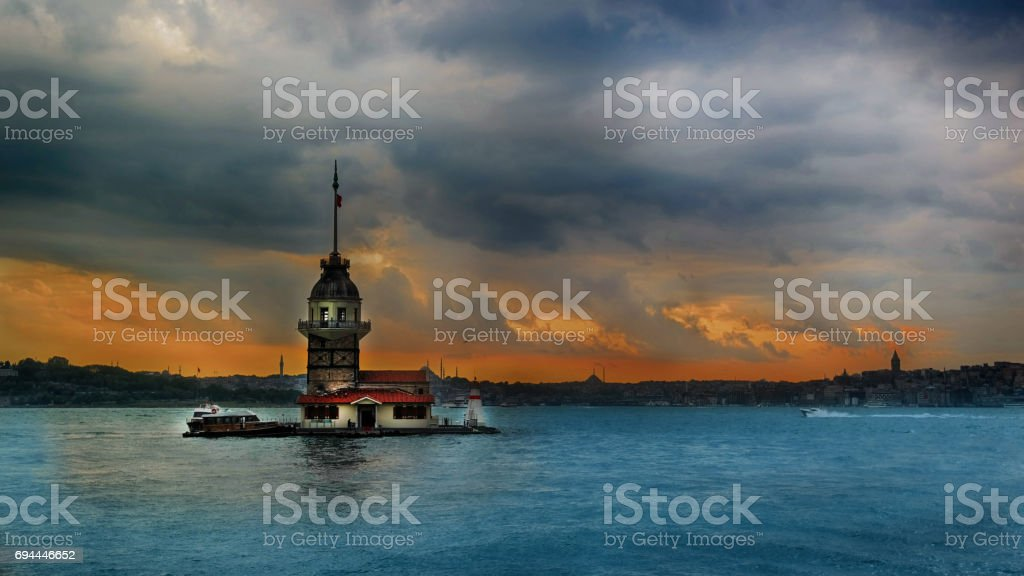 Istanbul Maiden's Tower and seascape stock photo