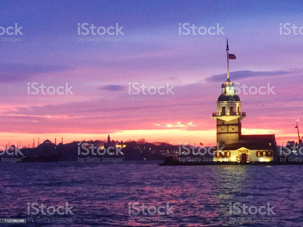 Istanbul maiden's tower in sunset stock photo