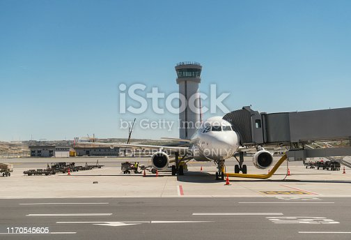 Istanbul, Turkey - May 29, 2019: New Istanbul International Airport. Front view of landed airplane in a terminal of Istanbul, Turkey