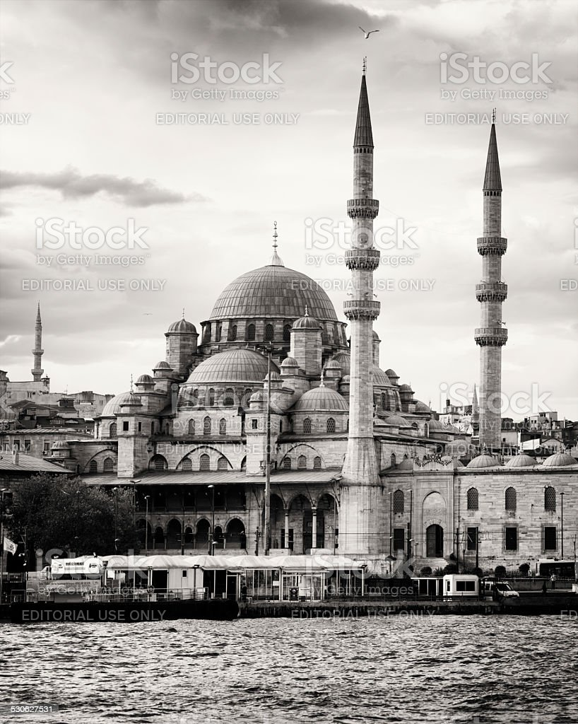 Istanbul New mosque Yeni Cami Sepia toned black and white royalty-free stock photo