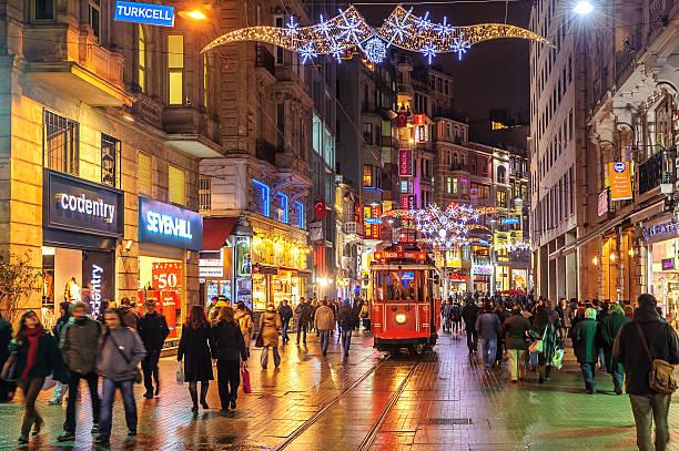 istanbul nostalgic tramway on istiklal street at night, istanbul - istiklal avenue bildbanksfoton och bilder