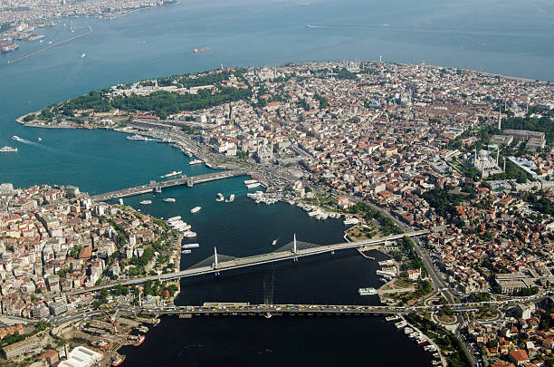 Istanbul Old City and Golden Horn, aerial view stock photo