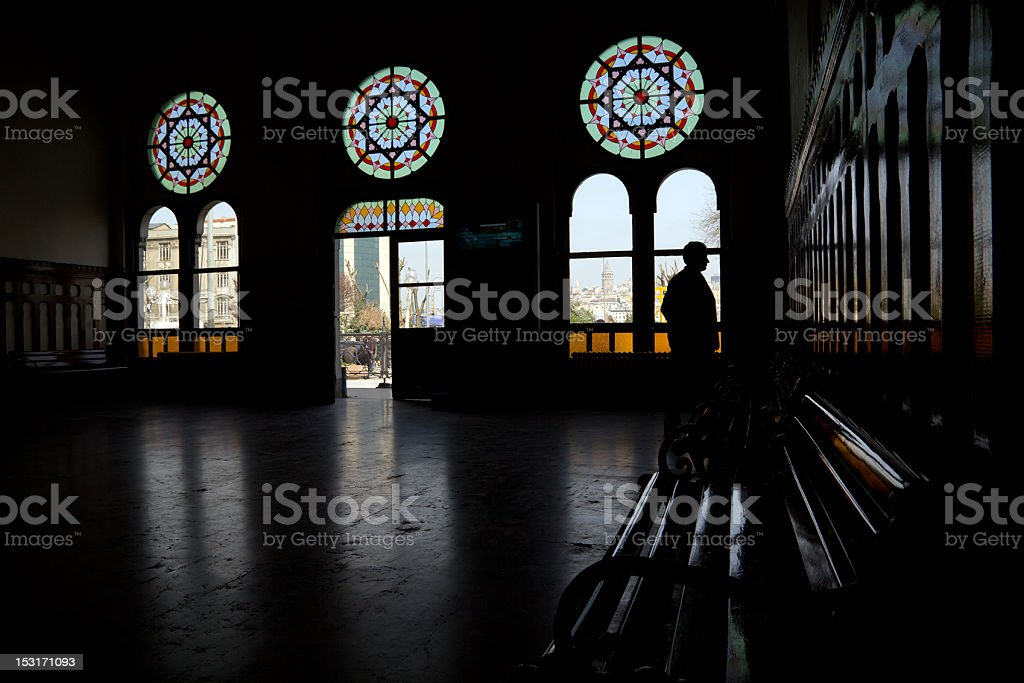 Istanbul, Orient Express station. Silhoutte man in the waiting room stock photo