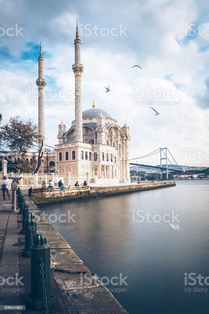 Istanbul - Ortakoy Mosque with Bosphorus bridge stock photo