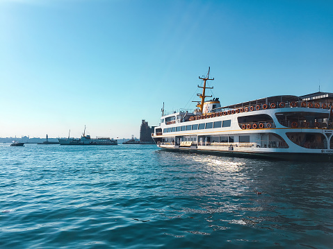 Istanbul, Turkey - July 22, 2017: a vapour of Marmara Sea waiting for ship passengers in a summer day in a cloudless summer day for transportation travel trip concepts