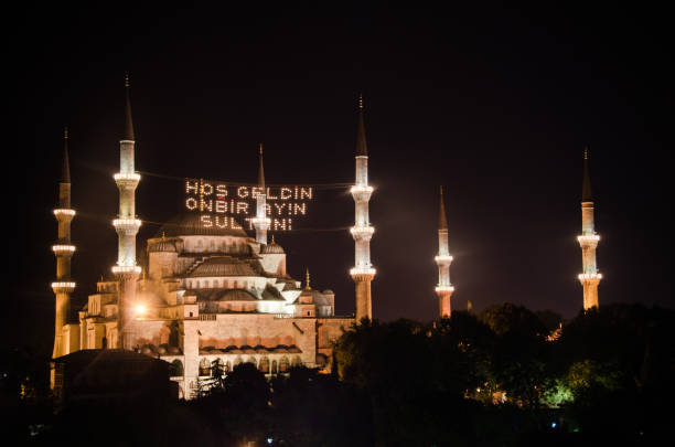 Istanbul Blue mosque for ramadan 2012 in Istanbul, Turkey. View at night with minarets lights on. It's a international landmark with it's six minatrets. 2012 stock pictures, royalty-free photos & images