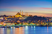 Image of Istanbul with Suleymaniye Mosque during sunset.