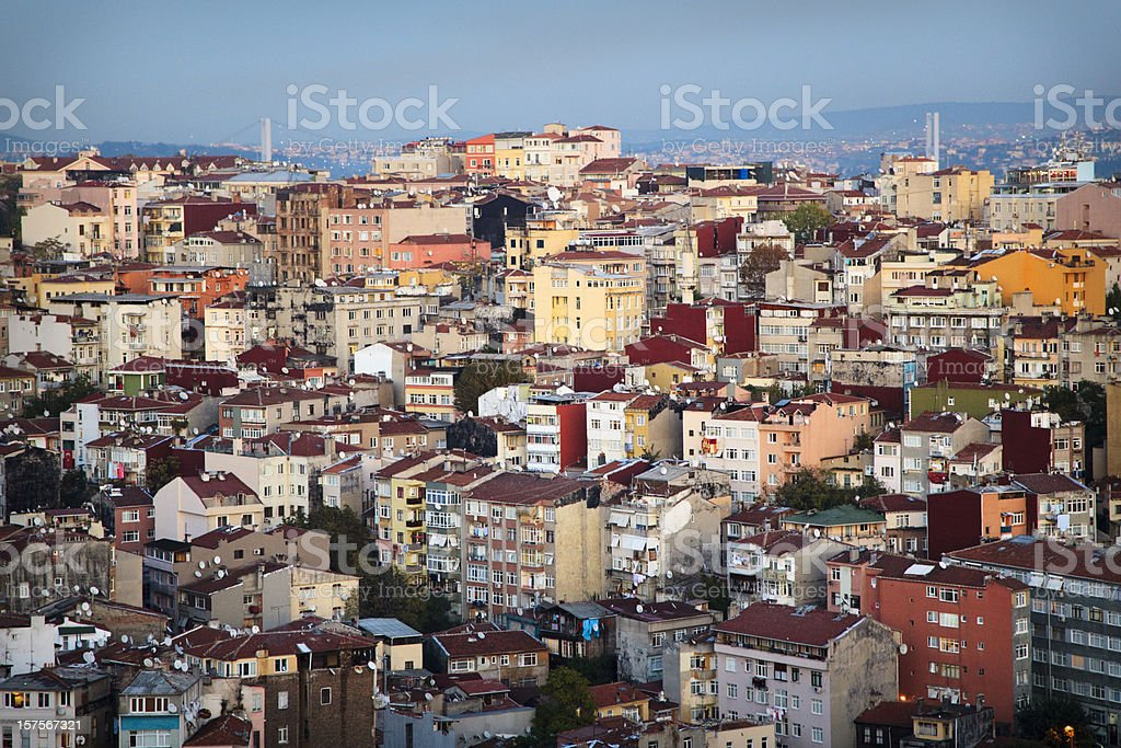 Istanbul residential area at dusk royalty-free stock photo