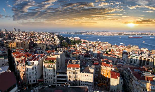 Istanbul skyline at sunset, Turkey stock photo
