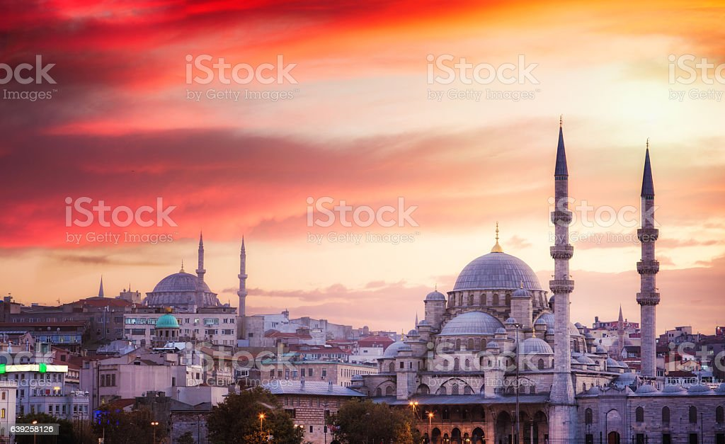 Istanbul skyline at sunset with dramatic sky stock photo