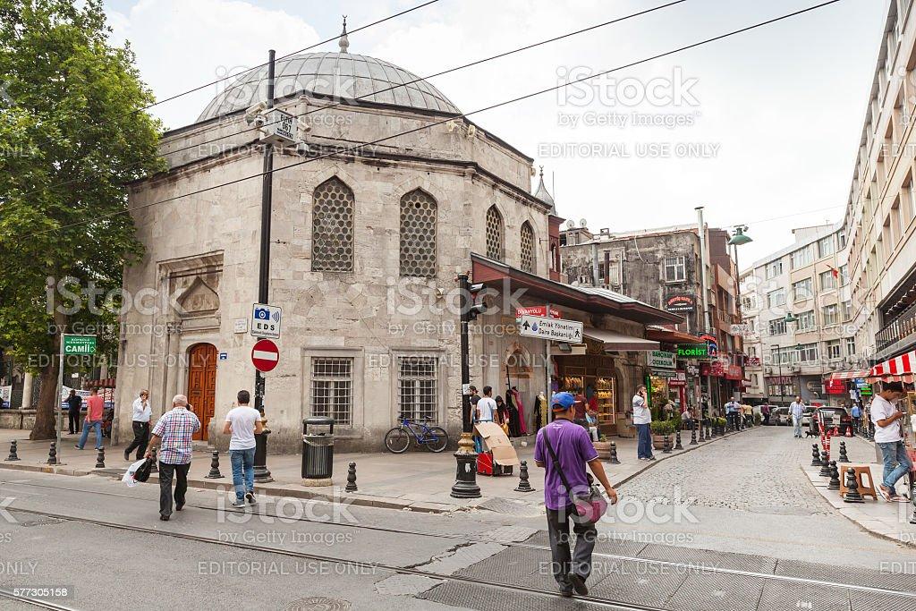 Istanbul street, Koprulu Mehmet Pasa Mosque stock photo