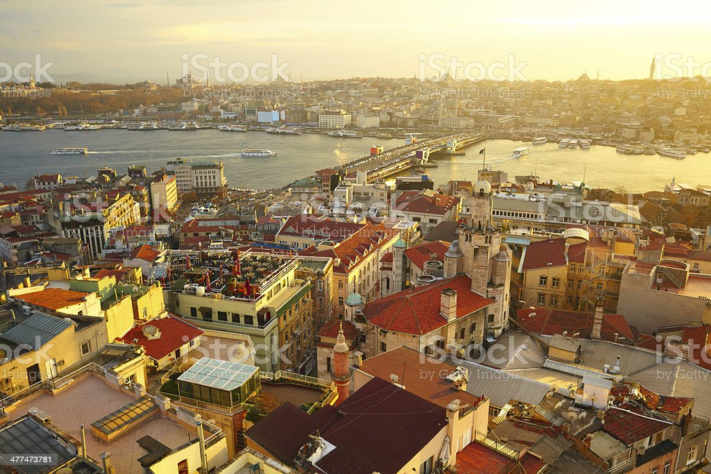 Istanbul Sunset Panorama stock photo