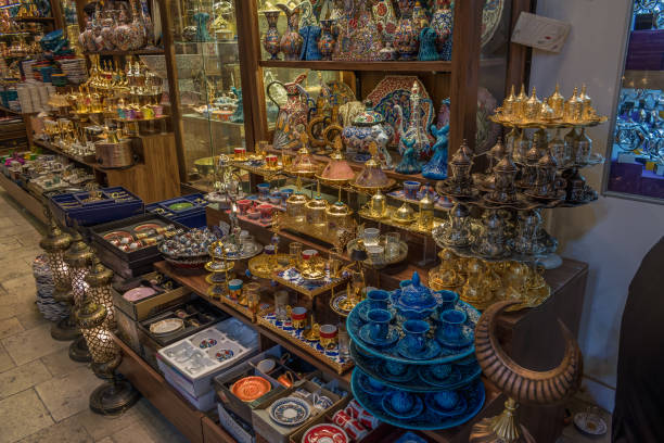 Istanbul, Turkey - 10.21.2018 : Turkish Ceramics at Grand Bazaar stock photo