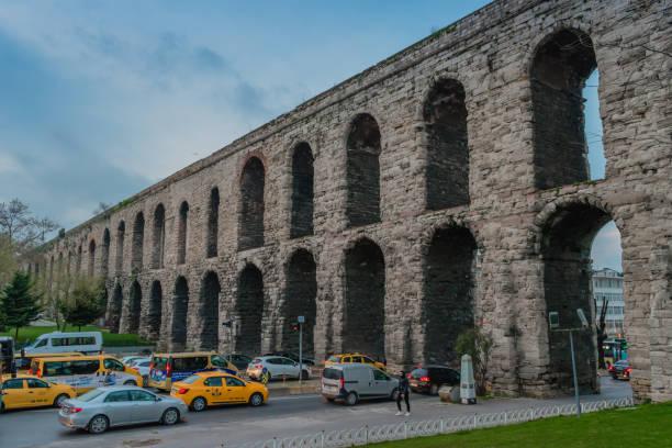 Istanbul, Turkey - 10.26.2018 : Valens Aqueduct stock photo