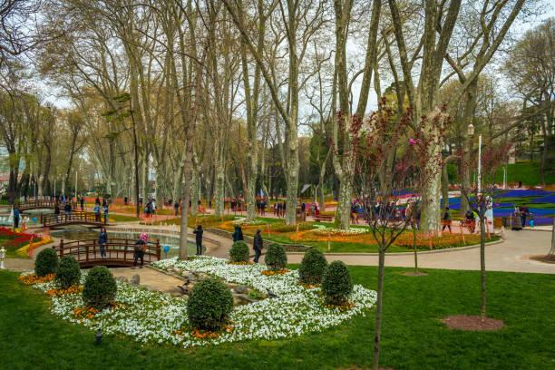 "Istanbul, Turkey - 11.22.2018 : Colorful Park Next to The Topkapi Palace Named ""Gulhane Park"" stock photo"