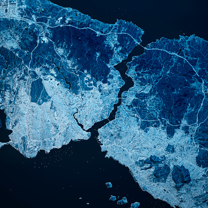 Istanbul Turkey 3D Render Blue Top View Oct 2018