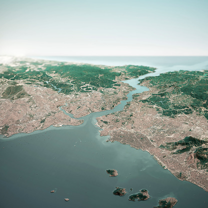 Istanbul Turkey 3D Render Horizon Aerial View From South Oct 2018