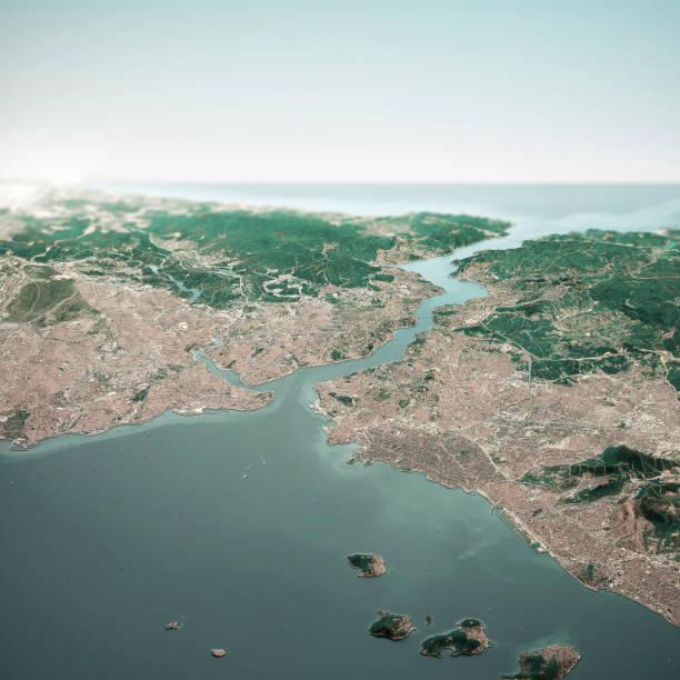 Istanbul Türkei 3D Render Horizon Luftbild aus dem Süden Okt 2018 – Foto
